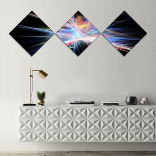 Designart 'Light Blue Spectrum of Light' Abstract Canvas Art Print - 3 Diamond Canvas Prints