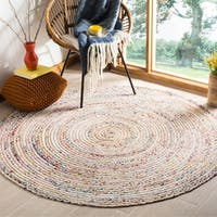 Safavieh Handmade Cape Cod Boho Braided Beige/ Multi Cotton Rug - 6' X 6' Round