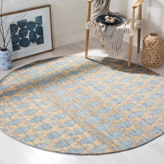 Safavieh Hand-Woven Cape Cod Light Blue/ Gold Jute Rug (6' Round)