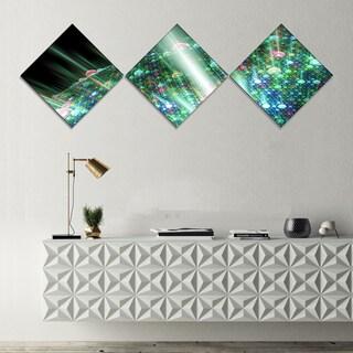 Designart 'Bright Blue Solar Bubbles Planet' Abstract Canvas Wall Art - 3 Diamond Canvas Prints