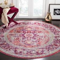 Safavieh Claremont Vintage Purple/ Coral Polyester Rug - 6'7 Round