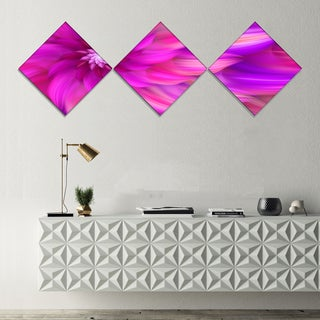 Designart 'Massive Pink Fractal Flower' Floral Canvas Art Print - 3 Diamond Canvas Prints