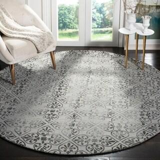 Safavieh Handmade Dip Dye Grey Wool Rug (7' Round)