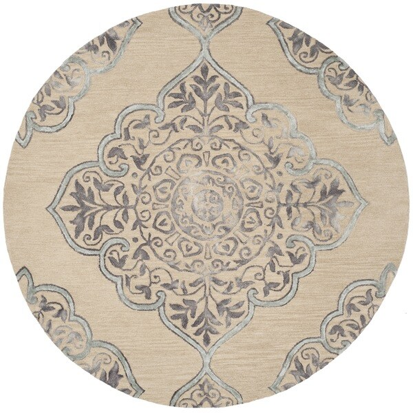 Safavieh Handmade Dip Dye Beige/ Blue Wool Rug - 7' x 7' Round