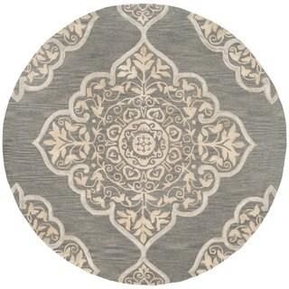 Safavieh Handmade Dip Dye Slate/ Beige Wool Rug (7' Round)