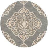 Safavieh Handmade Dip Dye Slate/ Beige Wool Rug - 7' Round