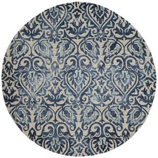 Safavieh Handmade Dip Dye Royal Blue/ Beige Wool Rug (7' Round)