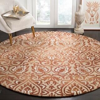 Safavieh Handmade Dip Dye Copper/ Beige Wool Rug (7' Round)