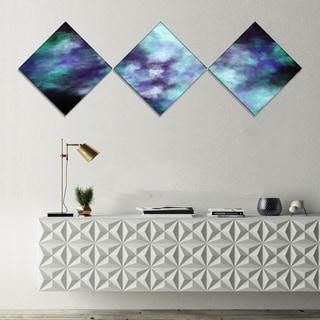 Designart 'Perfect Flowery Starry Sky' Abstract Canvas Art Print - 3 Diamond Canvas Prints