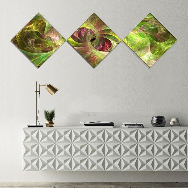 Designart 'Yellow Fractal Ornamental Glass' Abstract Canvas Art Print - 3 Diamond Canvas Prints