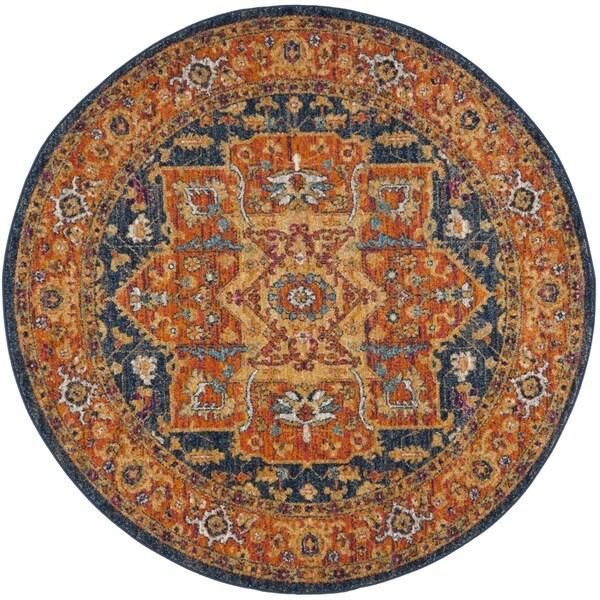 Safavieh Evoke Blue/ Orange Rug (5'1 Round)