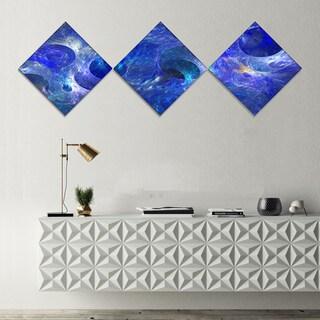 Designart 'Clear Blue Fractal Glass Texture' Abstract Canvas Art Print - 3 Diamond Canvas Prints