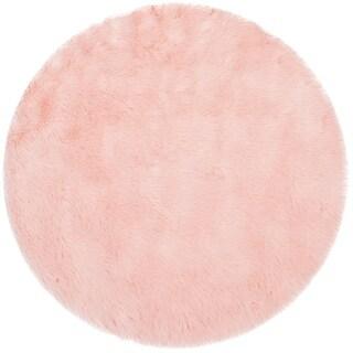 Safavieh Faux Sheep Skin Pink Acrylic Rug (3' Round)