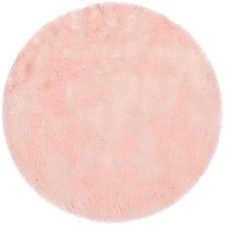 round pink rug. Safavieh Faux Sheep Skin Pink Acrylic Rug - 3\u0027 Round