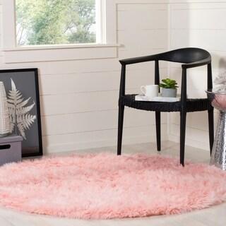 Safavieh Faux Sheep Skin Pink Acrylic Rug (5' Round)