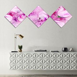 Designart 'Pink White Fractal Glass Texture' Abstract Canvas Art Print - 3 Diamond Canvas Prints