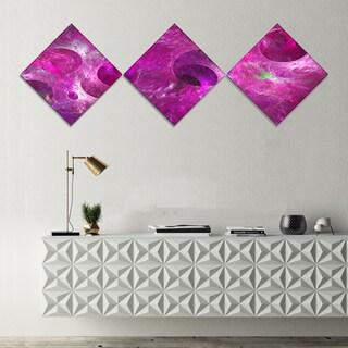 Designart 'Dark Pink Fractal Glass Texture' Abstract Canvas Art Print - 3 Diamond Canvas Prints