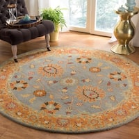 Safavieh Handmade Heritage Blue/ Orange Wool Rug - 8' x 8' Round