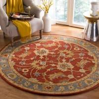 Safavieh Handmade Heritage Red/ Blue Wool Rug (8' Round)