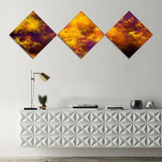 Designart 'Cloudy Orange Starry Fractal Sky' Abstract Canvas Art Print - 3 Diamond Canvas Prints