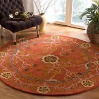 Safavieh Handmade Heritage Red/ Multi Wool Rug - 8' Round