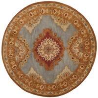 Safavieh Handmade Heritage Blue/ Rust Wool Rug - 8' x 8' Round
