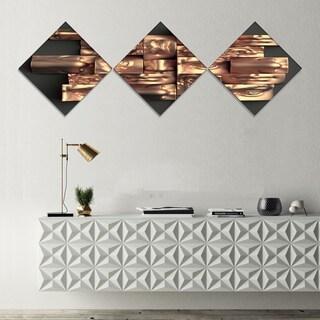 Designart 'Golden Black Abstract Design' Abstract Canvas Art Print - 3 Diamond Canvas Prints