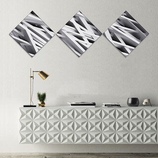 Designart 'White Geometric' Abstract Canvas Art Print - 3 Diamond Canvas Prints