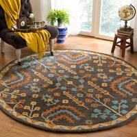 Safavieh Handmade Heritage Charcoal/ Multi Wool Rug - 6' Round