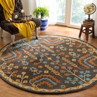 Safavieh Handmade Heritage Charcoal/ Multi Wool Rug - 8' Round