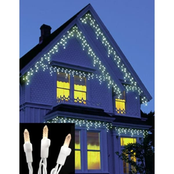 set of 70 warm clear led m5 icicle christmas lights white wire