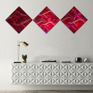 Designart 'Red Fractal Electric Lightning' Abstract Art on Canvas - 3 Diamond Canvas Prints