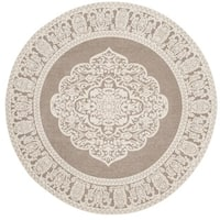 Safavieh Hand-Woven Marbella Light Grey/ Ivory Polyester Rug - 6' x 6' Round