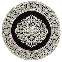 Safavieh Hand-woven Marbella Ornate Black/ Ivory Chenille Rug - 6' x 6' Round