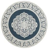 Safavieh Hand-Woven Marbella Dark Blue/ Ivory Polyester Rug - 6' Round