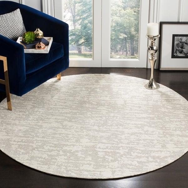 Safavieh Hand-Woven Marbella Light Grey/ Ivory Polyester Rug - 6' Round