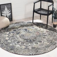 Safavieh Marquee Handmade Ornate Wool Grey/ Multi Area Rug - 6' x 6' Round