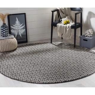 Safavieh Hand-Woven Montauk Ivory/ Dark Grey Cotton Rug (6' Round)