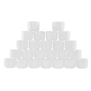 White 4 Ounce Plastic Jar Containers, 24 Pack of Storage Jars Inner and Outer Lid By Stalwart