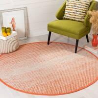 Safavieh Hand-Woven Montauk Orange/ Ivory Cotton Rug - 6' Round