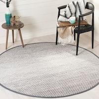 Safavieh Montauk Hand-Woven Flatweave Light Grey/ Ivory Cotton Rug - 6' X 6' Round