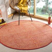 Safavieh Hand-Woven Montauk Orange/ Multi Cotton Rug - 6' Round