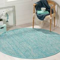 Safavieh Hand-Woven Montauk Turquoise/ Multi Cotton Rug - 6' Round