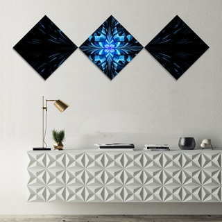 Designart 'Blue Butterfly Pattern on Black' Abstract Art on Canvas - 3 Diamond Canvas Prints