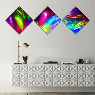 Designart 'Mysterious Psychedelic Design' Abstract Canvas Art Print - 3 Diamond Canvas Prints