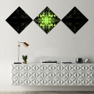 Designart 'Green Butterfly Pattern on Black' Abstract Wall Art Canvas - 3 Diamond Canvas Prints