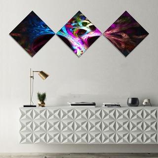 Designart 'Magical Multi color Psychedelic Tree' Abstract Canvas Art Print - 3 Diamond Canvas Prints