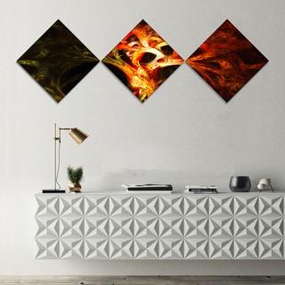Designart 'Magical Orange Psychedelic Tree' Abstract Canvas Art Print - 3 Diamond Canvas Prints