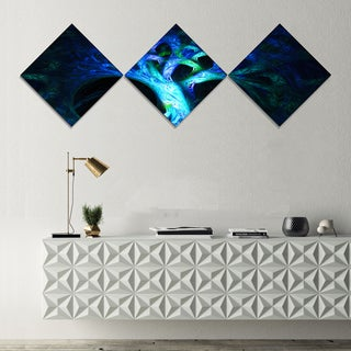 Designart 'Magical Blue Psychedelic Tree' Abstract Canvas Art Print - 3 Diamond Canvas Prints