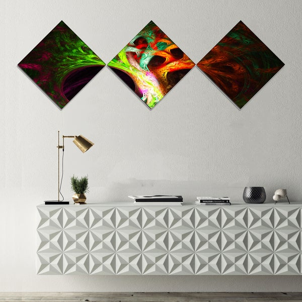 Designart 'Magical Green Psychedelic Tree' Abstract Art on Canvas - 3 Diamond Canvas Prints